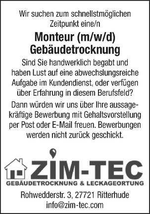 Monteur Gebäudetrocknung (m/w/d)