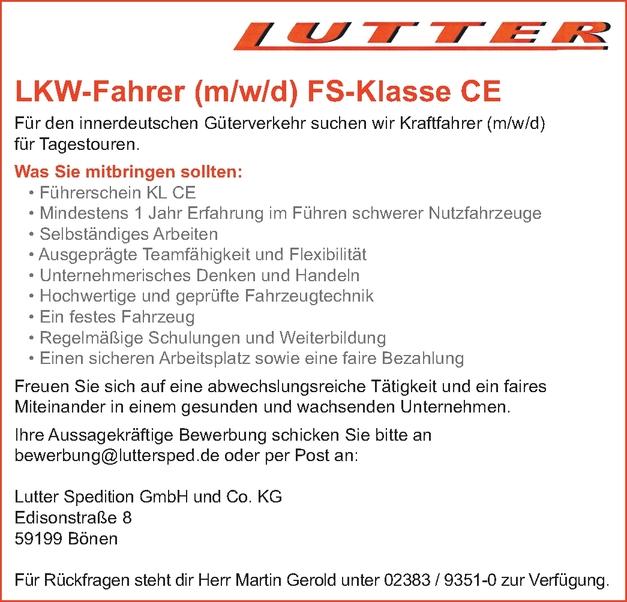 LKW-Fahrer m/w/d