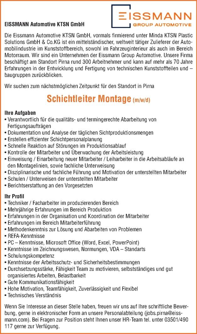Schichtleiter Montage m/w/d