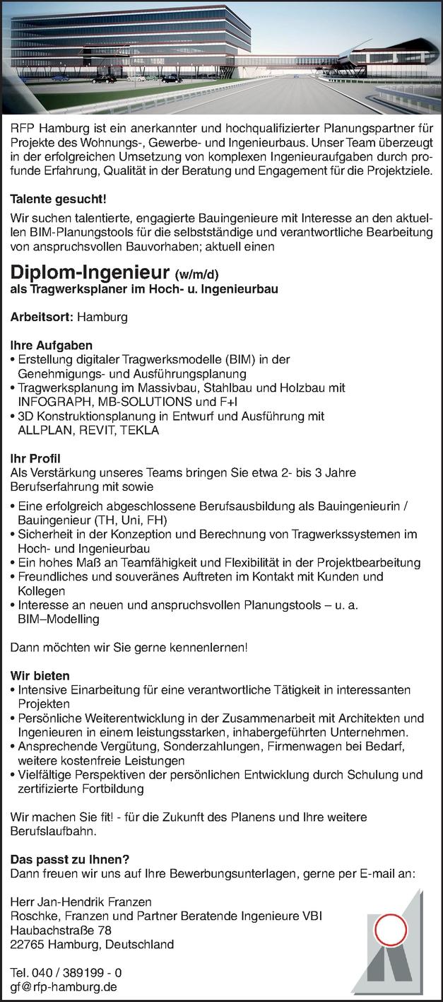 Bauingenieur Tragwerksplanung m/w/d