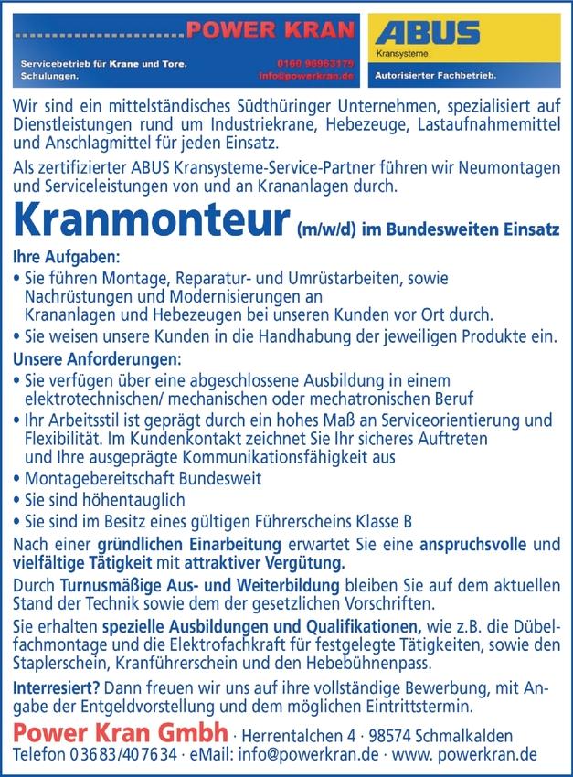 Kranmonteur (m/w/d)