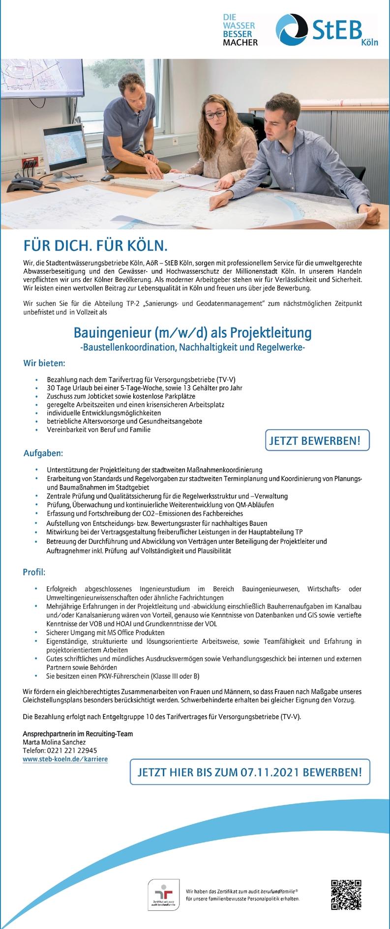 Bauingenieur m/w/d Projektleitung