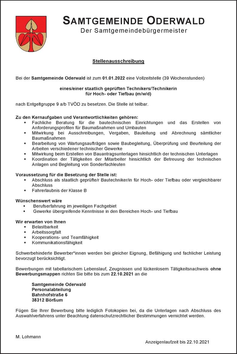 Bautechniker Hochbau (m/w/d)