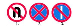 La care dintre cele trei indicatoare este permisa manevra de intoarcere?