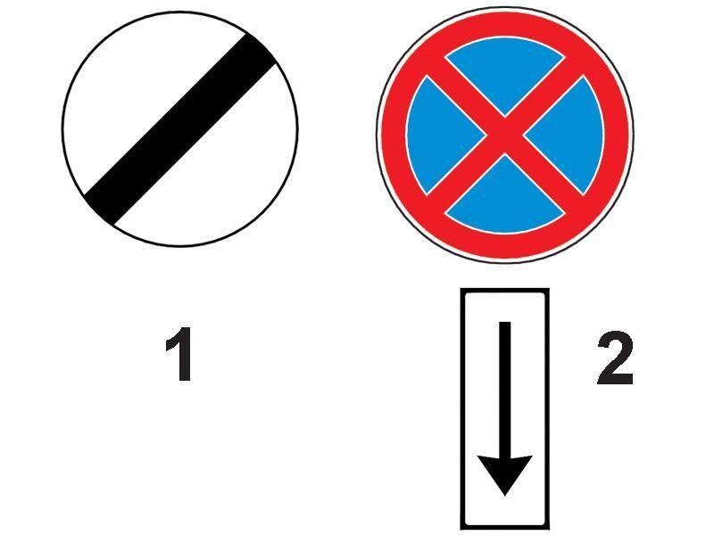 Sfârşitul zonei în care oprirea a fost interzisă este anunţată de: