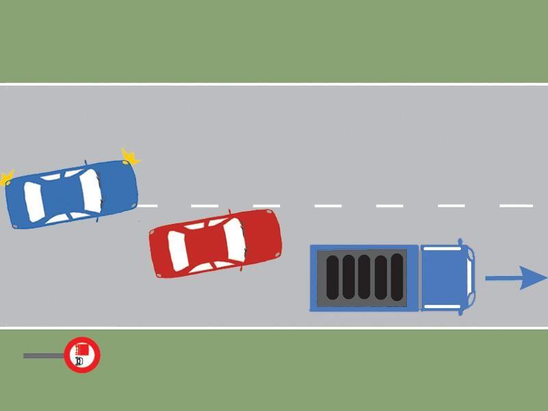 Conducătorul autoturismului roşu s-a angajat corect în depăşirea autocamionului?
