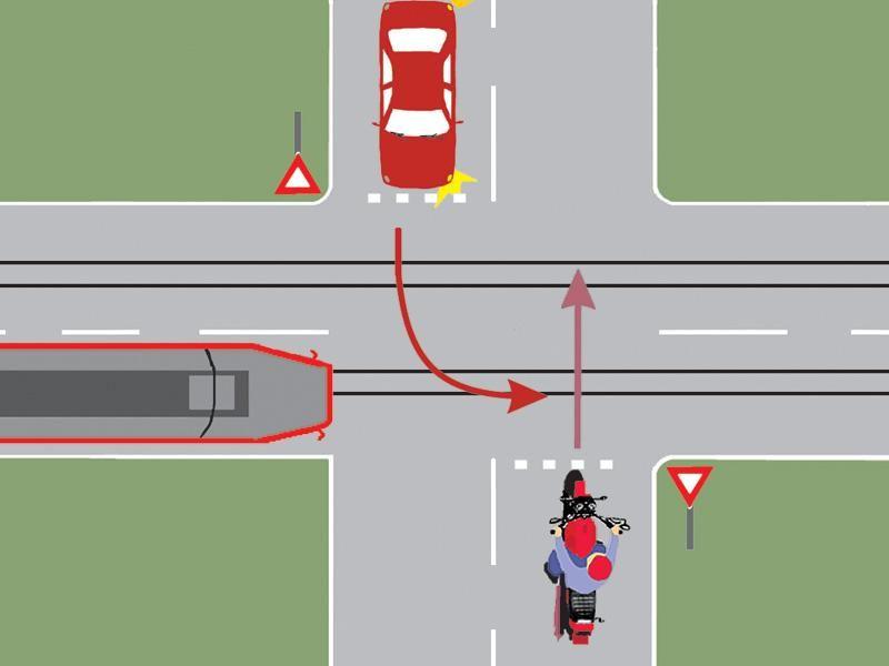 Care dintre cele trei vehicule va trece ultimul prin intersecţie?