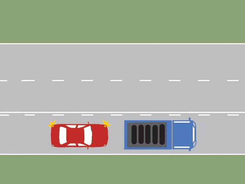 Puteţi depăşi în această situaţie, dacă vă aflaţi la volanul autoturismului?