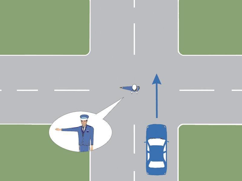Cum veţi proceda la semnalul poliţistului, atunci când conduceţi autoturismul din imagine?