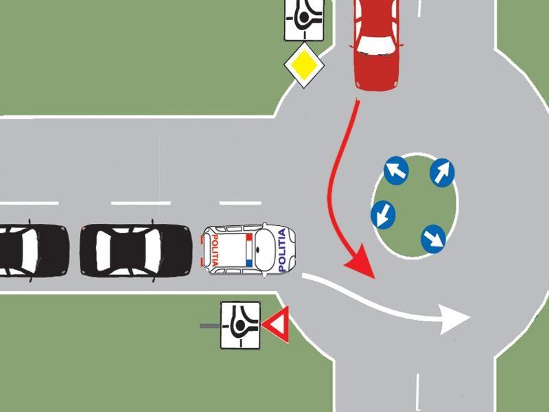Cum procedaţi dacă vă aflaţi în autoturismul roşu şi observaţi că de pe drumul fără prioritate se apropie o coloană cu regim prioritar?