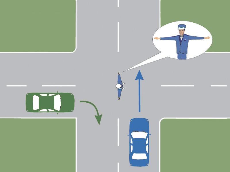 Ce comportament este corect în situaţia prezentată, dacă vă aflaţi la volanul autoturismului verde?