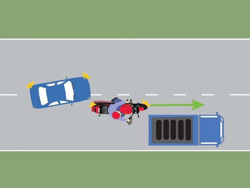 Conduceţi autoturismul albastru. V-aţi angajat corect în depăşirea motocicletei?
