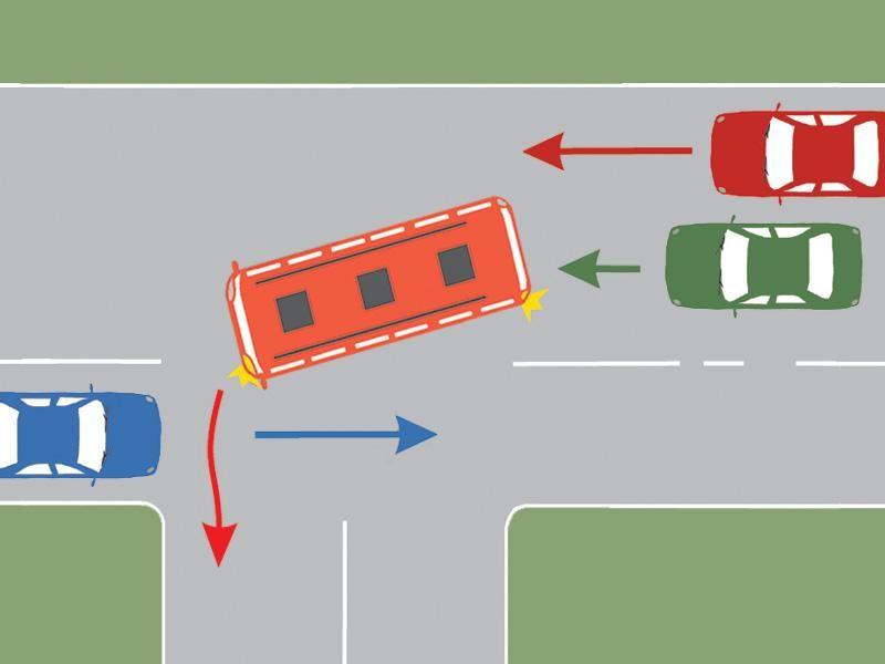Cum trebuie să procedeze conducătorul autoturismului verde în situaţia dată?