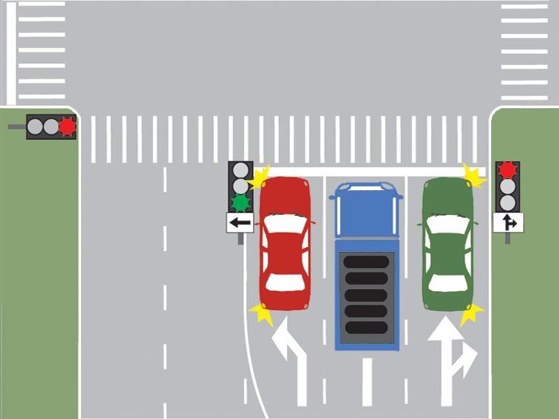 Ce autovehicul îşi poate continua deplasarea în imaginea prezentată?