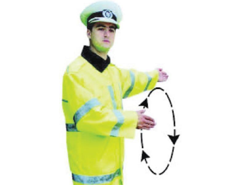 Semnalul poliţistului indică: