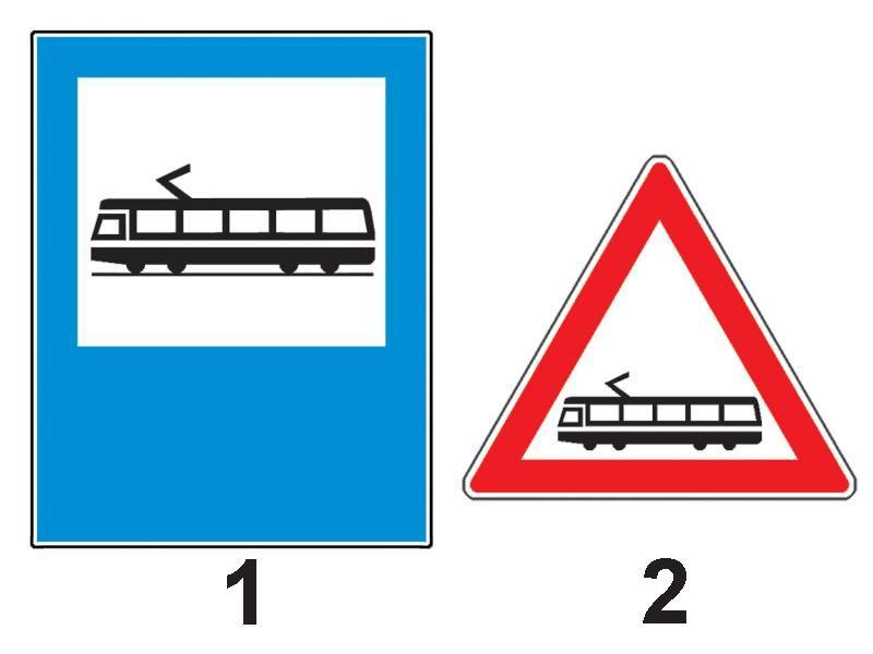 Care dintre indicatoarele din imagine semnalizează o staţie de tramvai?