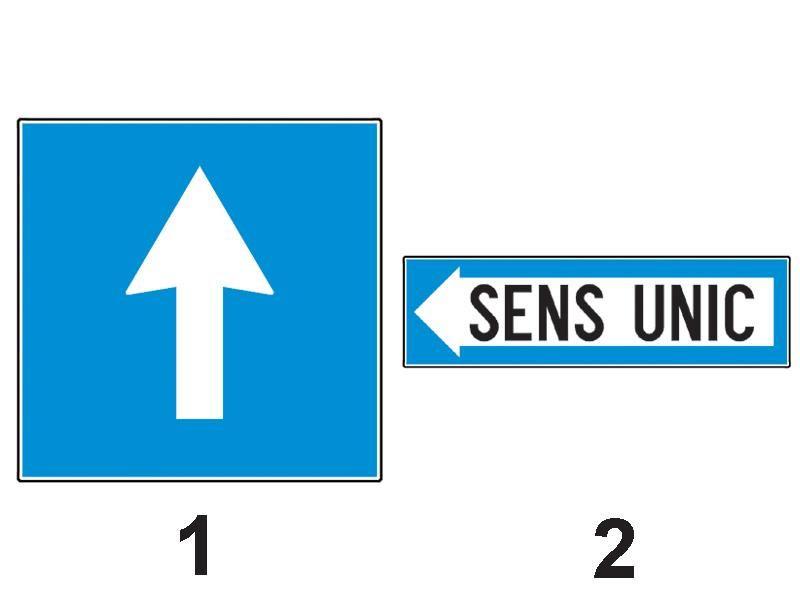 Precizaţi care dintre indicatoarele de mai jos indică o cale rutieră cu sens unic: