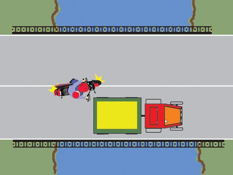 Este regulamentar efectuată depăşirea tractorului de către motocicletă?