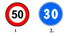 In zona de actiune a caruia dintre indicatoarele alaturate puteti circula cu o viteza mai mare de 45 km/h?