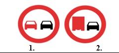 La care din cele doua indicatoare ii este interzis conducatorului unui autovehicul destinat transportului de marfa, sa depaseasca un autoturism ?
