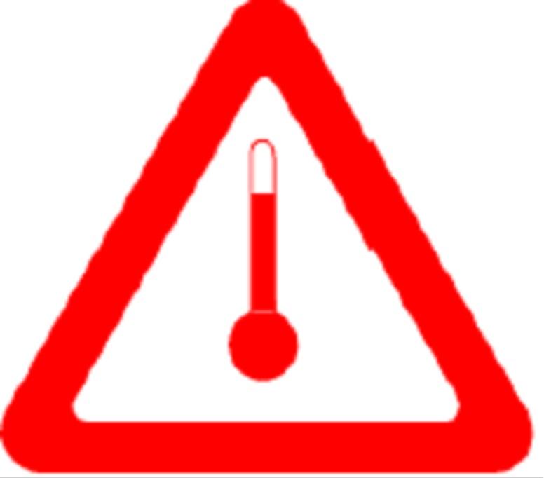 Marcajul triunghiular cu laturile rosii, de cel putin 250 mm, avand in centru simbolul unui termometru, trebuie aplicat: