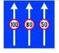 Ce banda puteti alege la intalnirea indicatorului din imagine, daca doriti sa va continuati deplasarea cu viteza aproximativa de 70 km/h ?