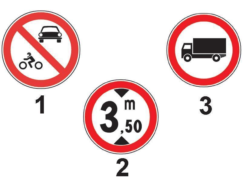 Care dintre indicatoarele alaturate interzice accesul autocamioanelor a caror inaltime este mai mare de 3,5 m?