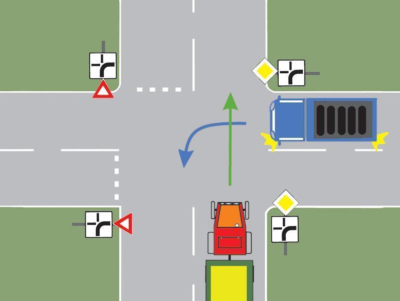 Ce autovehicul din imagine trebuie sa cedeze trecerea?