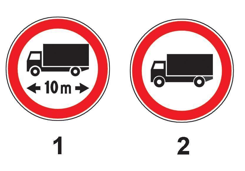 Care dintre indicatoarele alaturate interzice accesul autocamioanelor cu remorca, a caror lungime totala este mai mare de 10 m?
