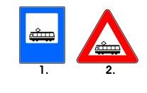 Care dintre urmatoarele indicatoare alaturate semnalizeaza existenta unei statii de tramvai?