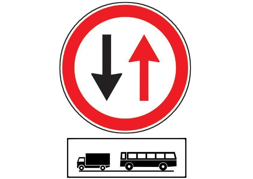 Ce obligatie are conducatorul unui autobuz la intalnirea indicatorului din imagine, insotit de panoul aditional?