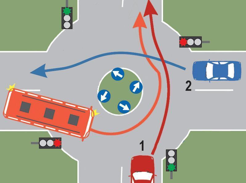 Conducatorul autobuzului din imaginea alaturata este surprins de schimbarea semnalului semaforului, dupa ce a patruns in intersectie. Ce trebuie sa faca in acest caz?
