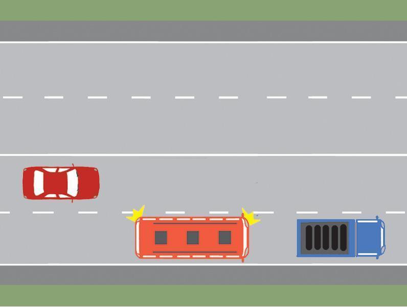 Cum trebuie sa procedeze conducatorul autobuzului, daca intentioneaza sa depaseasca autocamionul stationat?