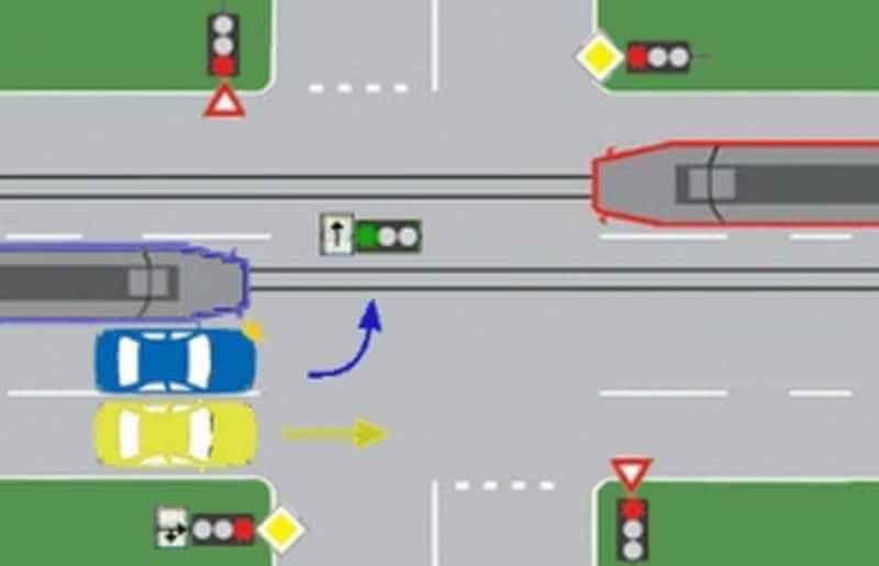 Care dintre vehicule îşi pot continua deplasarea în intersecţie?