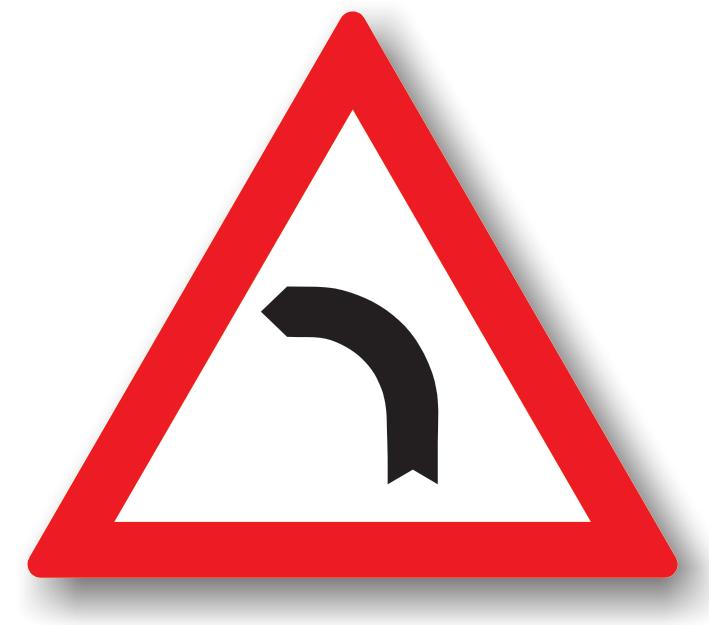 Este amplasat la cel mult 200 m de o curba la stanga. Conducatorul trebuie sa circule cu viteza redusa in curbe, iar daca vizibilitatea este redusa sub 50 m., toate manevrele (depasirea, oprirea, stationarea, mersul inapoi, intoarcerea) sunt interzise.