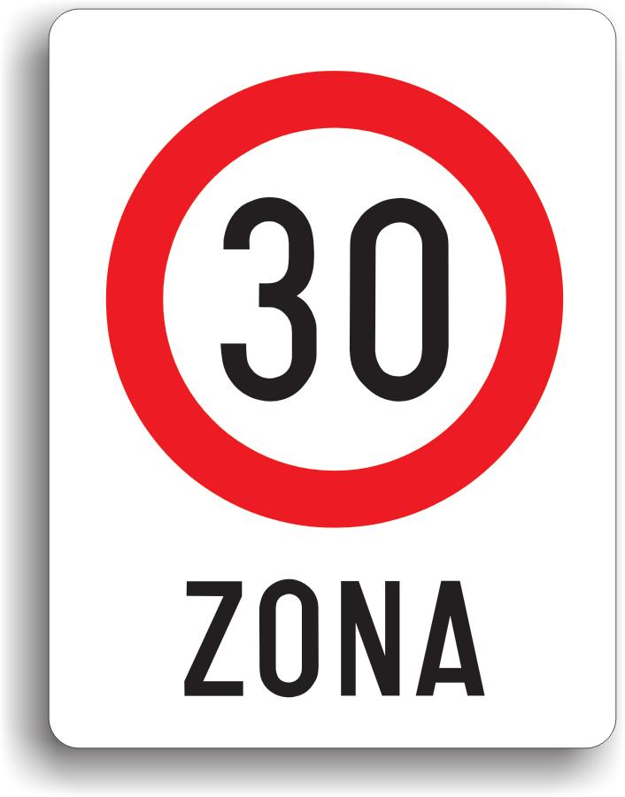 Este instalat in zona in care viteza de circulatie trebuie limitata la 30 km/h.