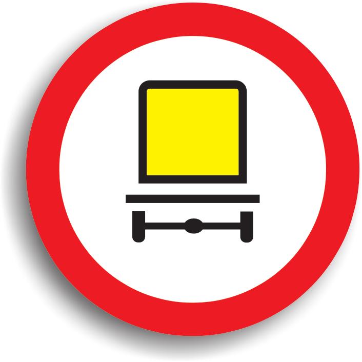 Indicatorul din imaginea alaturata se amplaseaza in locul in care accesul vehiculelor care transporta marfuri periculoase este interzis.