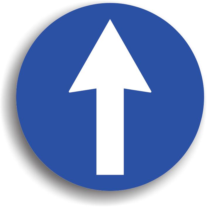 Indicatorul se monteaza cu cel mult 50 m inainte de o intersectie, obligand conducatorul auto sa circule pe directia indicata de sageata (nu poate vira stanga sau dreapta, nu poate intoarce). Daca actioneaza asupra unei singure benzi, atunci se va instala deasupra benzii respective. Acest indicator actioneaza doar in intersectia inaintea careia este instalat.