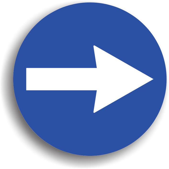 Se instaleaza pe partea opusa intrarii intr-o intersectie sau suspendat in mijlocul intersectiei, obligand conducatorul auto sa vireze in directia indicata de sageata, dar fara a ocoli indicatorul (pana la indicator). Indicatorul actioneaza numai in intersectia inaintea careia este instalat. Efectuandu-se un viraj, este obligatorie reducerea vitezei la maxim 30 km/h in localitate, respectiv max. 50 km/h in afara localitatii.