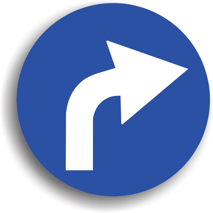 Se amplaseaza inaintea intrarii intr-o intersectie, obligand conducatorul auto sa vireze pe directia indicata de sageata, dupa ocolirea indicatorului. Zona de actiune a acestui indicator o constituie intersectia inaintea careia este instalat. Efectuandu-se un viraj, este obligatorie reducerea vitezei la maxim 30 km/h in localitate, respectiv max. 50 km/h in afara localitatii.