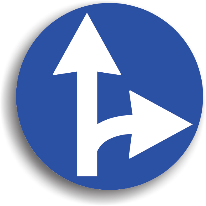 Conducatorul auto va intalni acest indicator inaintea intrarii intr-o intersectie, obligand conducatorul auto sa circule pe una din directiile indicate de sageti. Actioneaza doar in intersectia inaintea caruia este instalat.