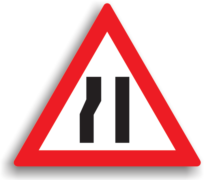Se amplaseaza la 100-200 m de locul in care sectorul de drum incepe sa se ingusteze pe ambele parti cu cel putin jumatate de metru. La intalnirea acestui indicator, conducatorul auto poate preventiv sa reduca viteza, iar manevrele de oprire, stationare, mersul inapoi si intoarcerea sunt interzise. Depasirea este permisa.