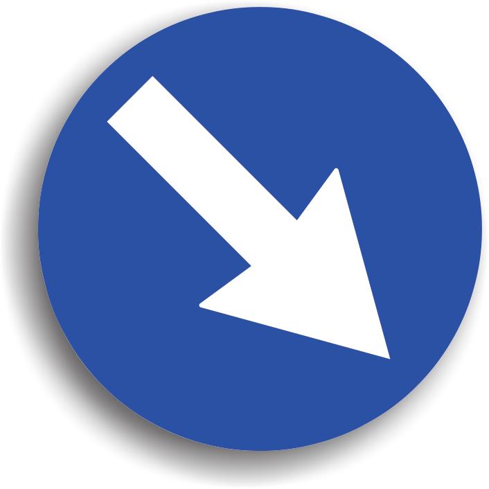 Indicatorul din imaginea alaturata se amplaseaza inaintea unui obstacol aflat pe partea carosabila, pe care conducatorul auto trebuie sa il ocoleasca in sensul indicat de sageata. Refugiile statiilor de tramvai sunt semnalizate cu astfel de indicatoare.
