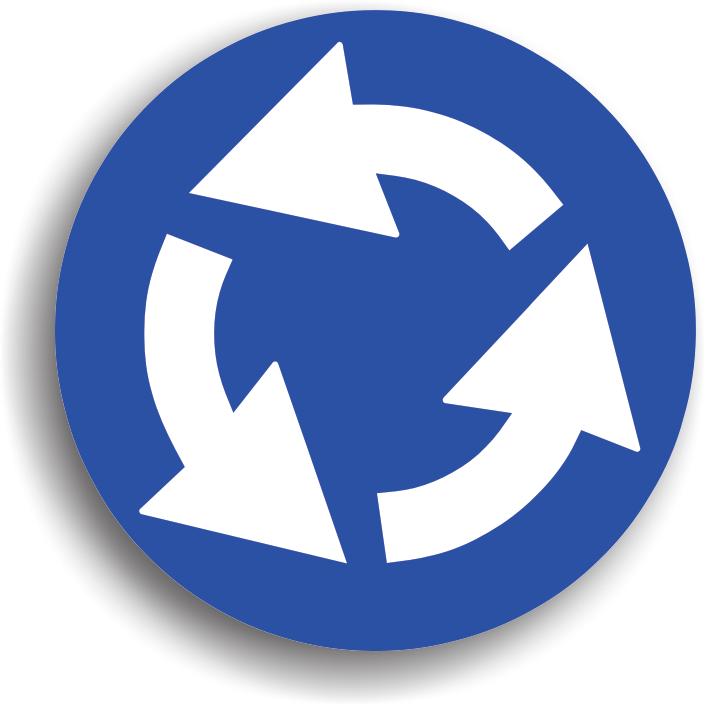 Se amplaseaza inaintea unei intersectii cu sens giratoriu sau pe zona circulara din mijlocul intersectiei. Se circula in sensul indicat de sageti, ocolind insula, afara de situatia cand viram stanga. Oprirea si stationarea sunt interzise, depasirea este permisa, intoarcerea este permisa numai prin ocolirea insulei. La intalnirea acestui indicator, conducatorul auto este obligat sa acorde prioritate vehiculelor care circula in interiorul intersectiei.