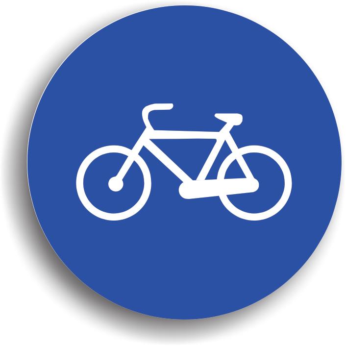 Are rolul de a preciza inceputul unei piste de biciclete pe care este permisa numai circulatia bicicletelor. Indicatorul se monteaza si la intersectia pistei cu un drum public.