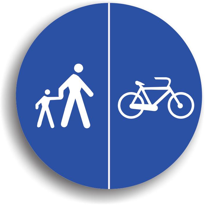 Poate fi intalnit la inceputul unui sector de drum pe care este permisa circulatia numai a pietonilor si a bicicletelor, acestia fiind obligati sa circule numai pe pista specifica pentru categoria din care fac parte.