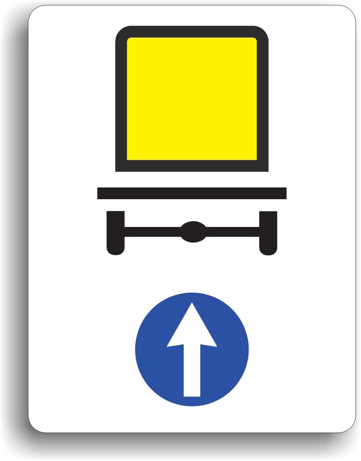 La intalnirea acestui indicator, vehiculele care transporta marfuri periculoase sunt obligate sa circule pe directia indicata de sageata: inainte