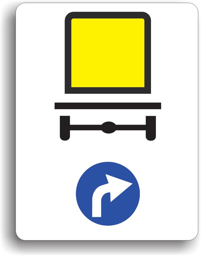 La intalnirea acestui indicator, vehiculele care transporta marfuri periculoase sunt obligate sa circule pe directia indicata de sageata: la dreapta