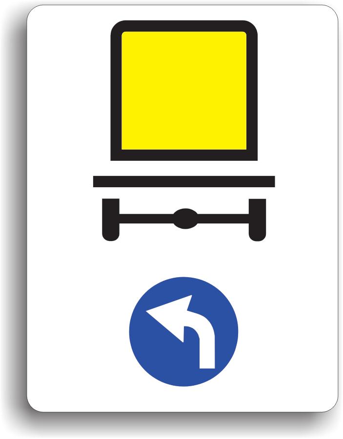 La intalnirea acestui indicator, vehiculele care transporta marfuri periculoase sunt obligate sa circule pe directia indicata de sageata: la stanga