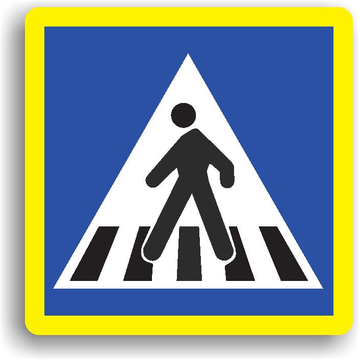"""Acest indicator se instaleaza in apropierea unei treceri pentru pietoni. Acesta poate fi precedat si de indicatorul """"Presemnalizare trecere pentru pietoni""""."""